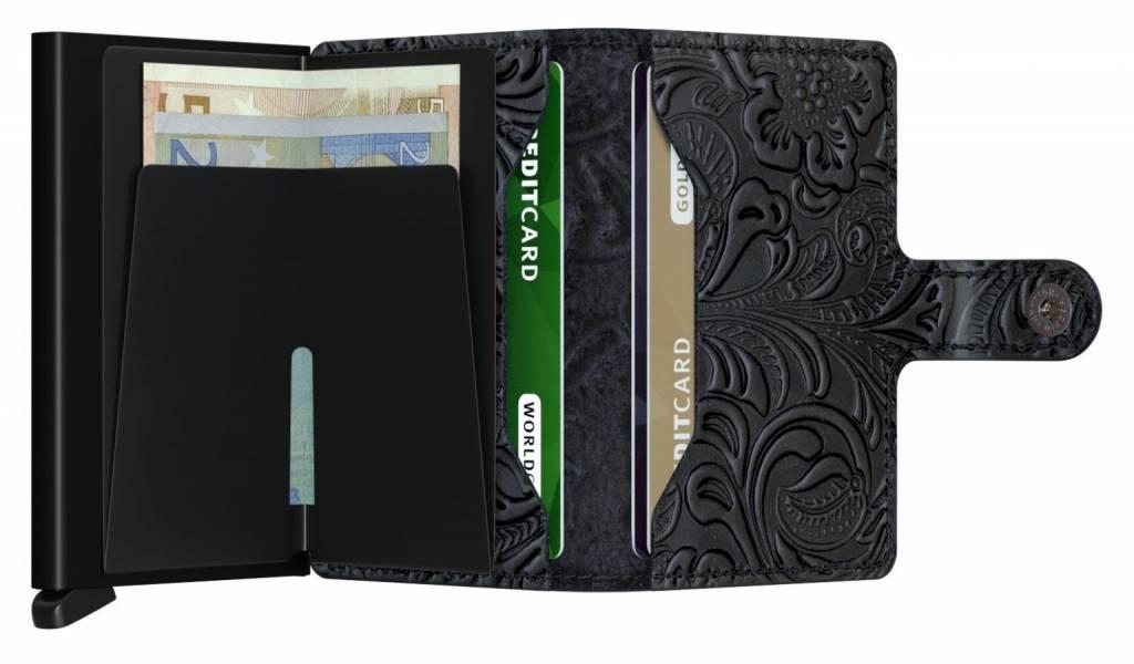 Secrid Secrid Mini Wallet Card Protector Ornament Black leren uitschuifbare pasjeshouder