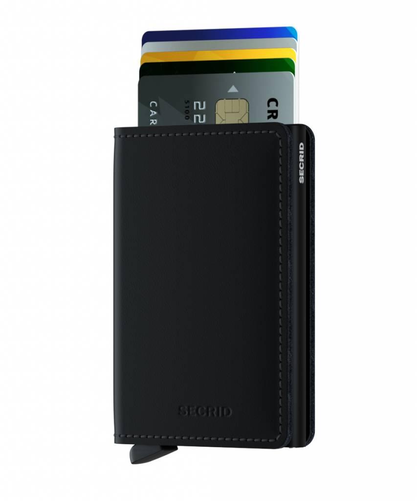 Secrid Secrid Slim Wallet Card Protector Matte Black leren uitschuifbare pasjeshouder