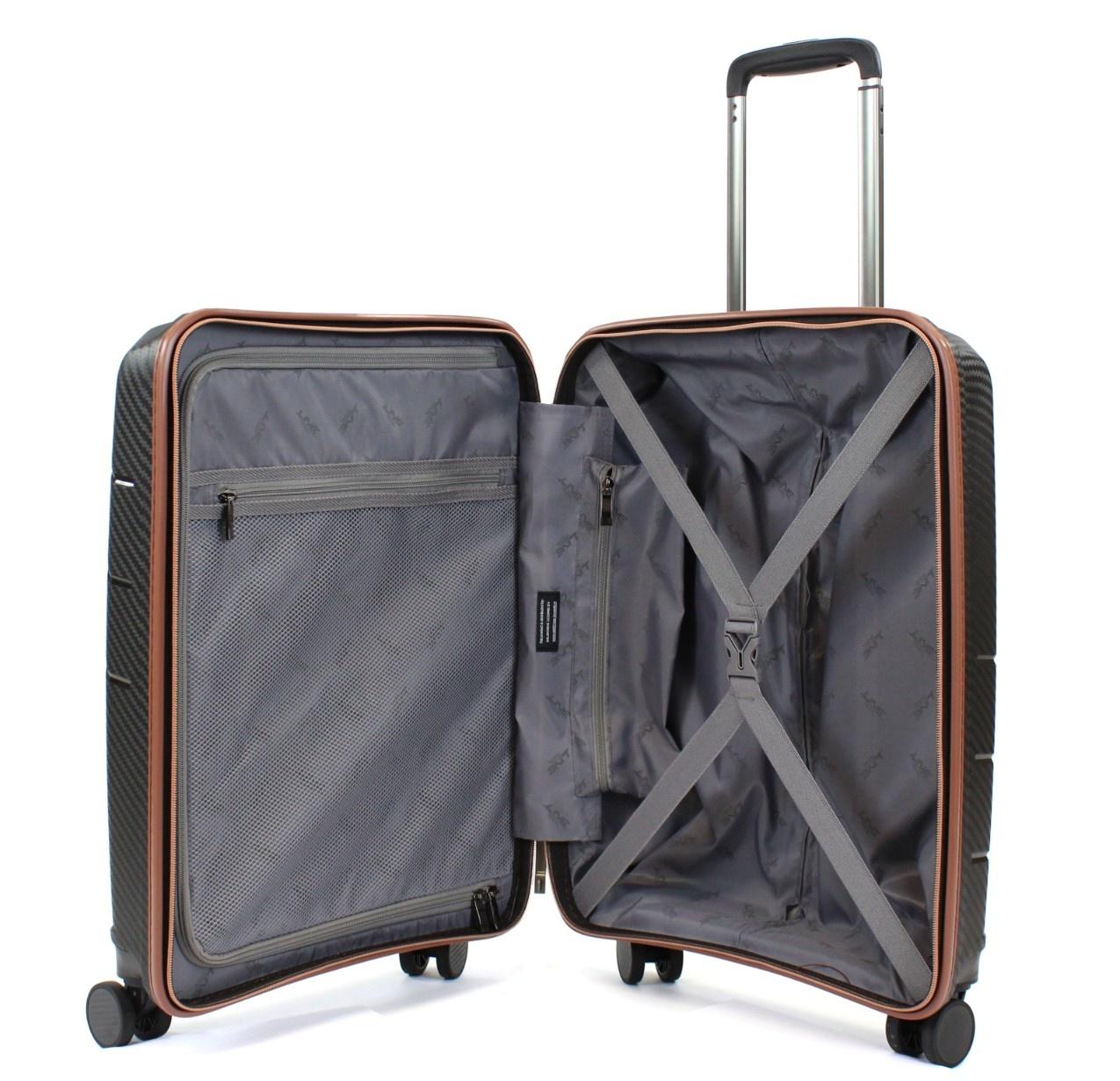 Line Line Belmont - harde handbagagekoffer met voorvak - black/cognac