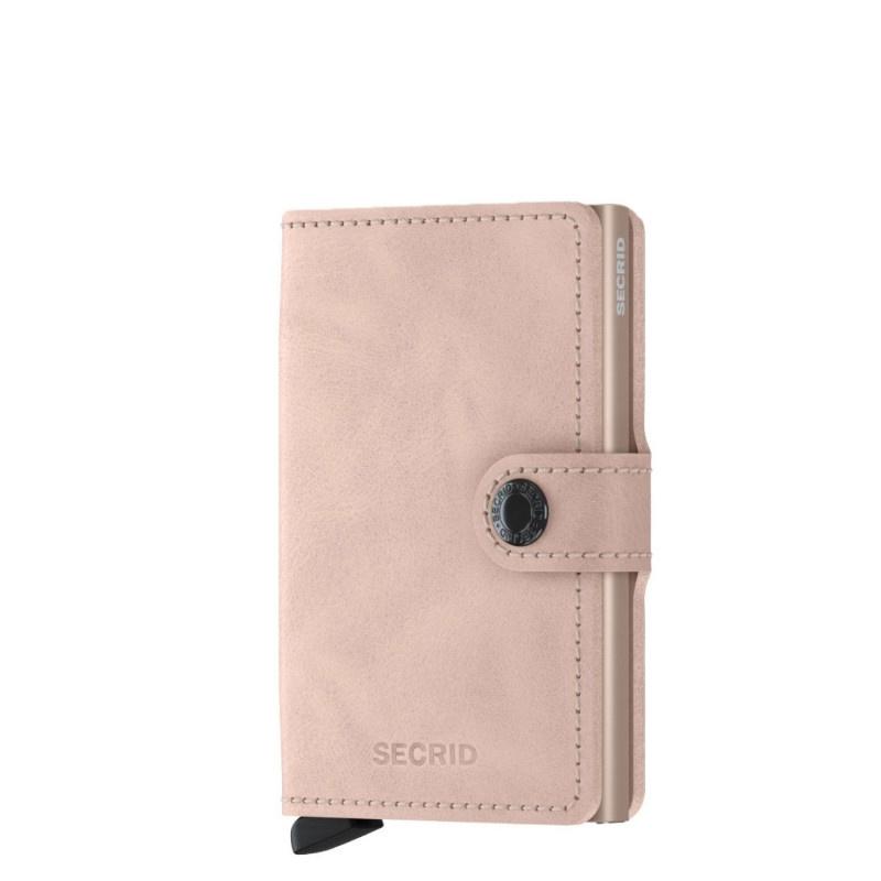 Secrid Secrid Mini Wallet Card Protector Vintage Rose leren uitschuifbare pasjeshouder
