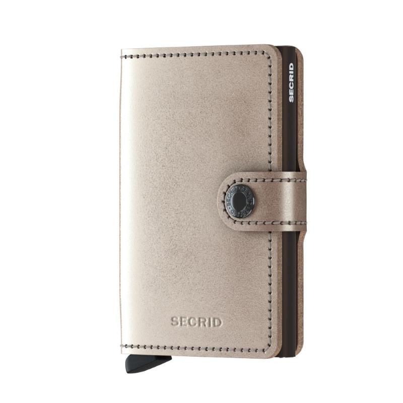 Secrid Secrid Mini Wallet Card Protector Metallic Champagne Brown  leren uitschuifbare pasjeshouder