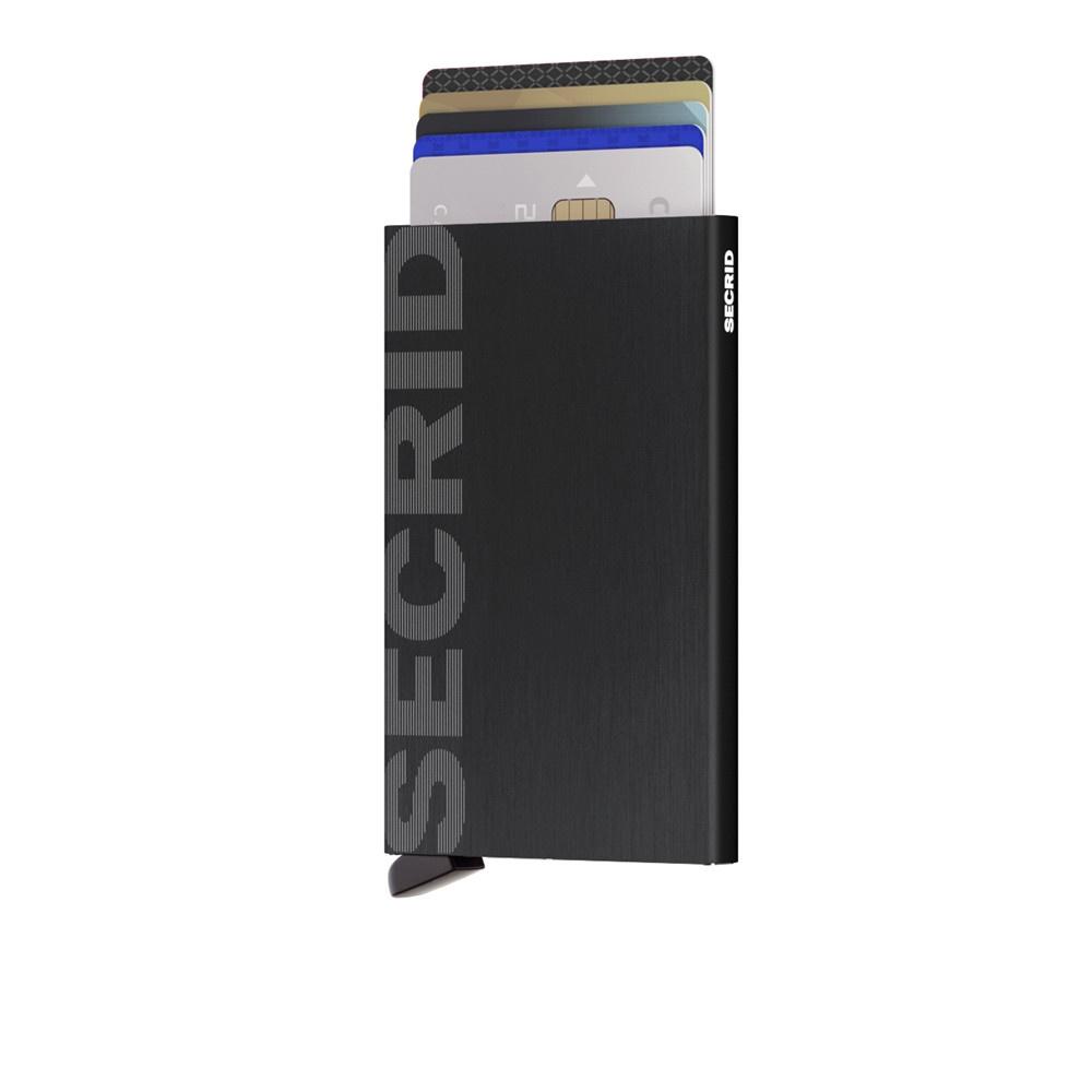 Secrid Secrid Cardprotector Laser Logo Brushed Black uitschuifbare pasjes bescherming pasjeshouder