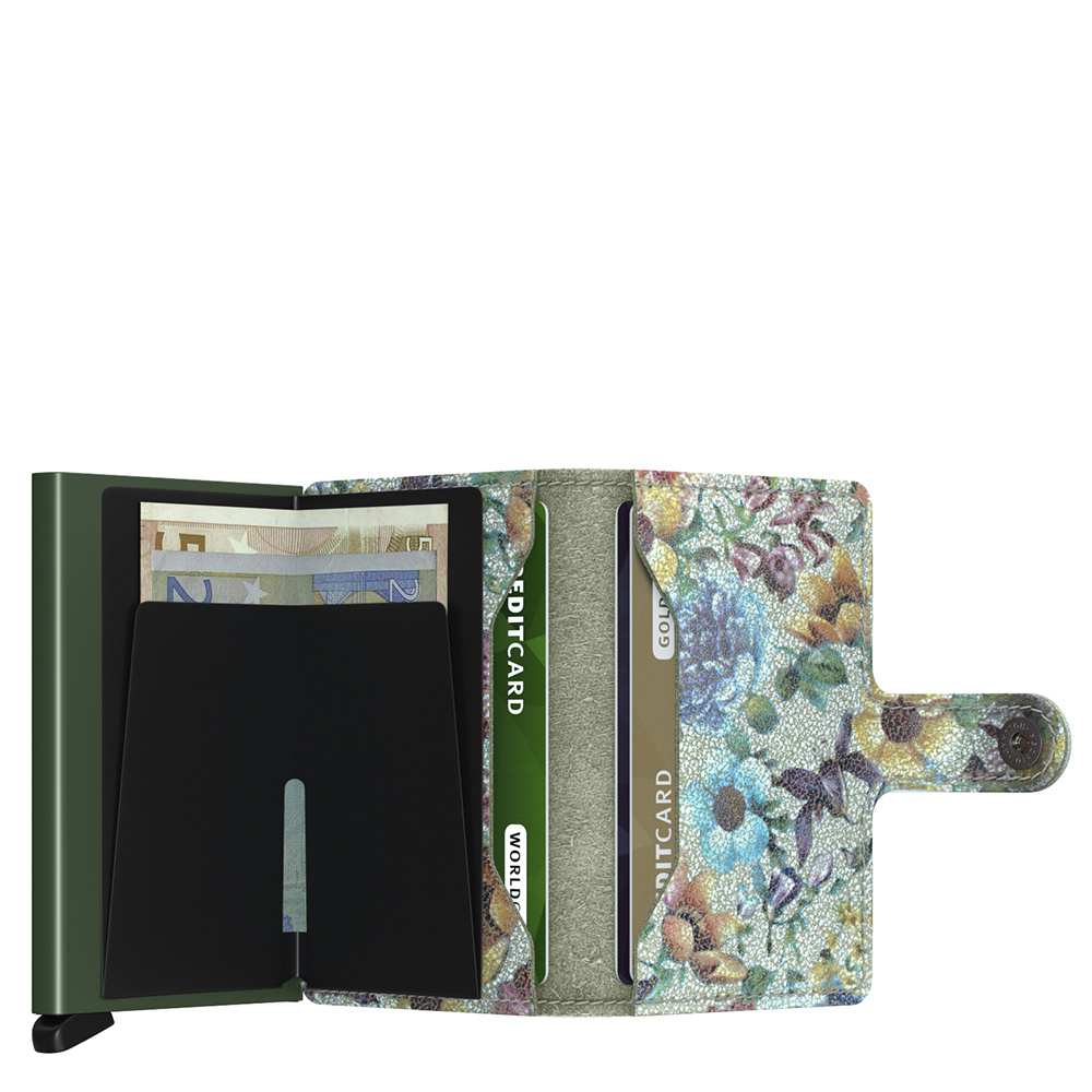 Secrid Secrid Mini Wallet Card Protector Crisple Pistachio Floral leren uitschuifbare pasjeshouder