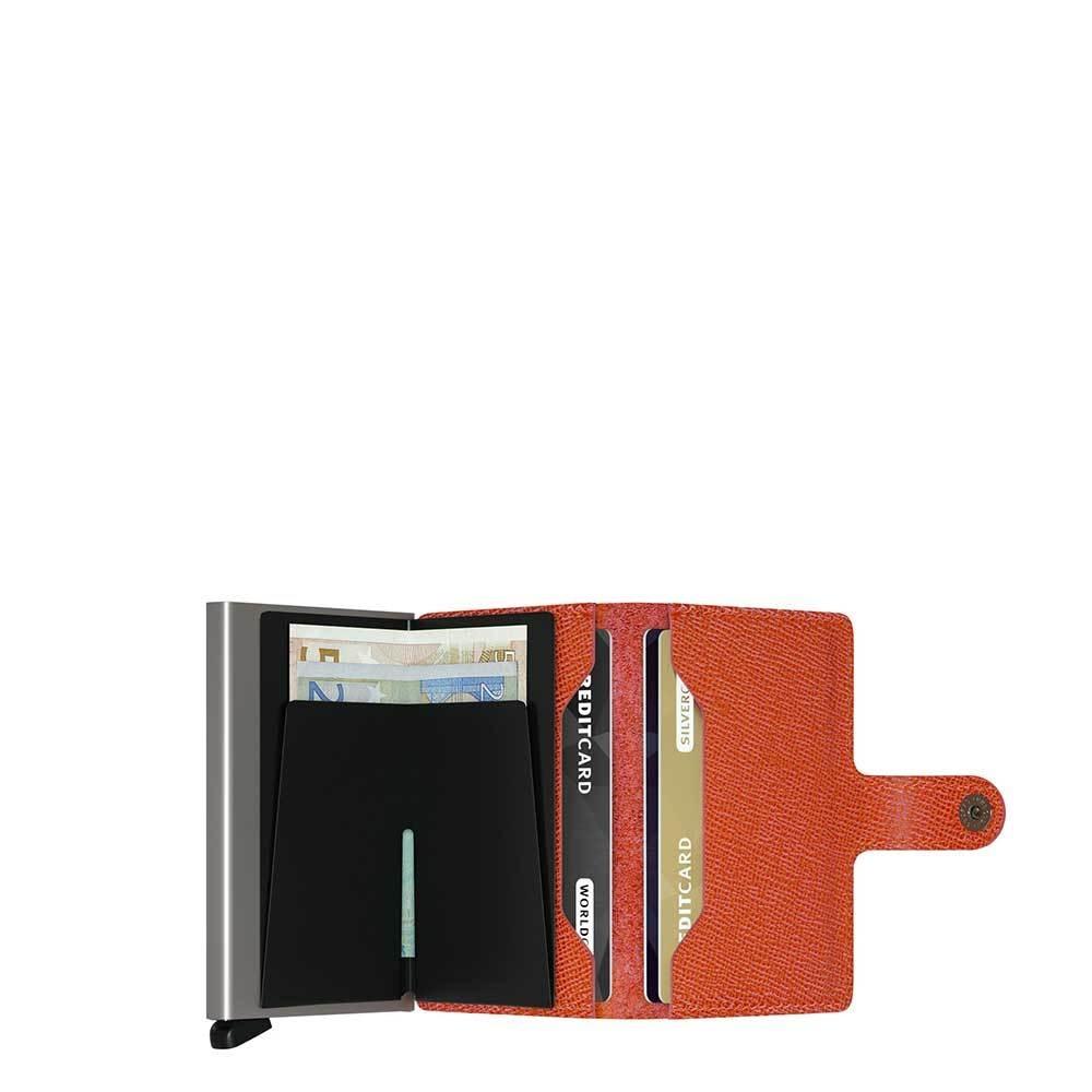 Secrid Secrid Mini Wallet Card Protector Crisple Orange leren uitschuifbare pasjeshouder