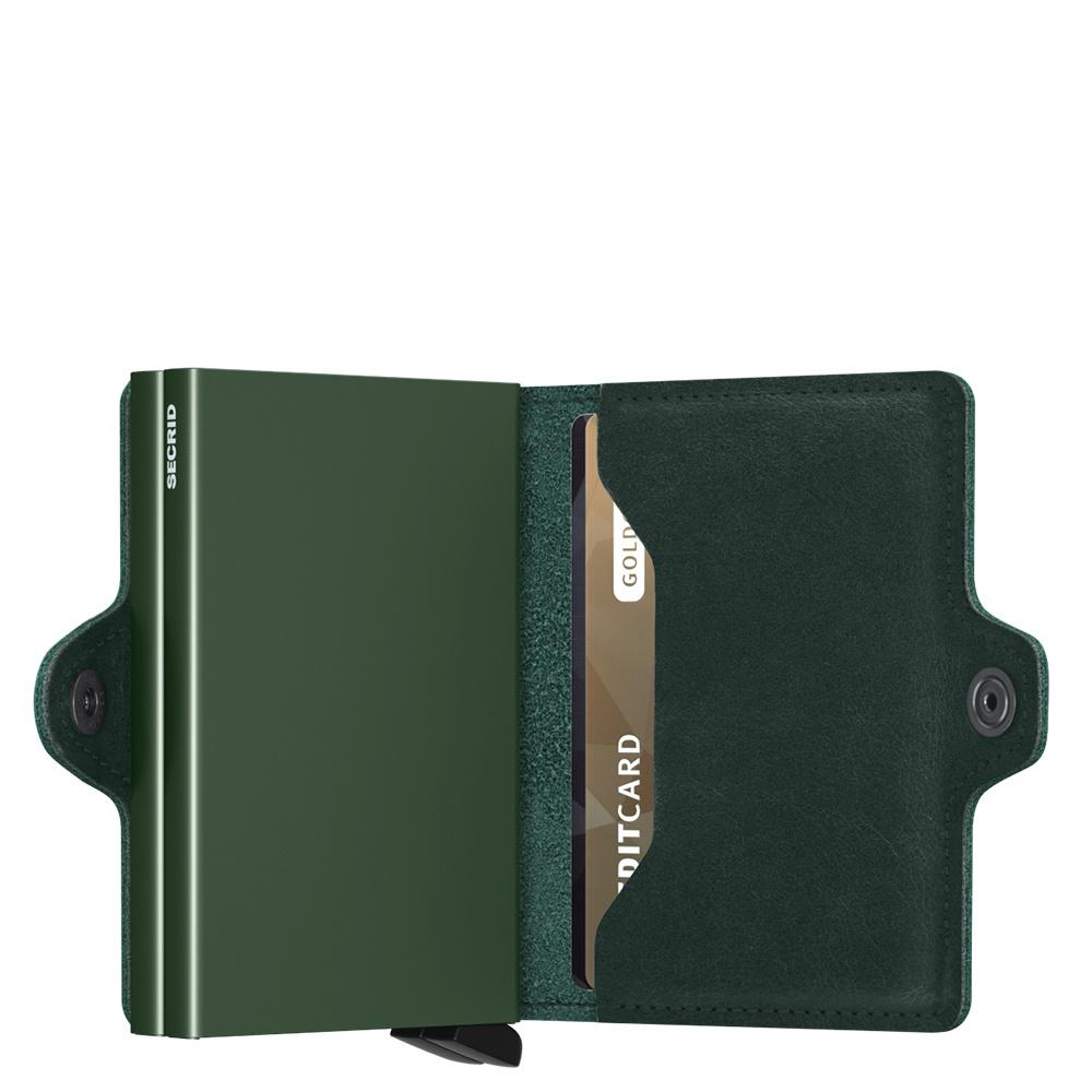Secrid Secrid Twin Wallet Original Green leren uitschuifbare pasjes bescherming portemonnee Card Protector