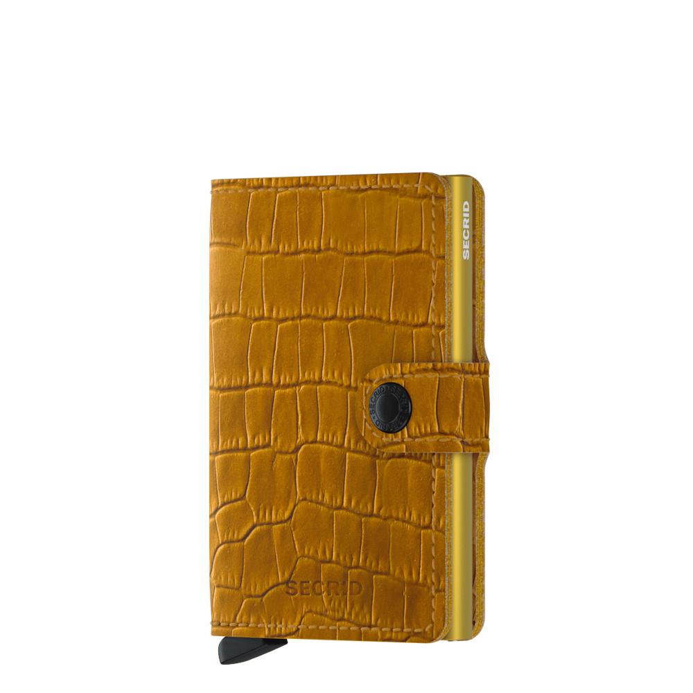 Secrid Secrid Mini Wallet Cleo Ochre leren uitschuifbare pasjeshouder krokodillenleer look