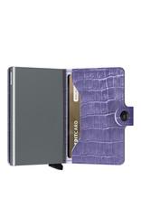 Secrid Secrid Mini Wallet Cleo Lavender leren uitschuifbare pasjeshouder krokodillenleer look
