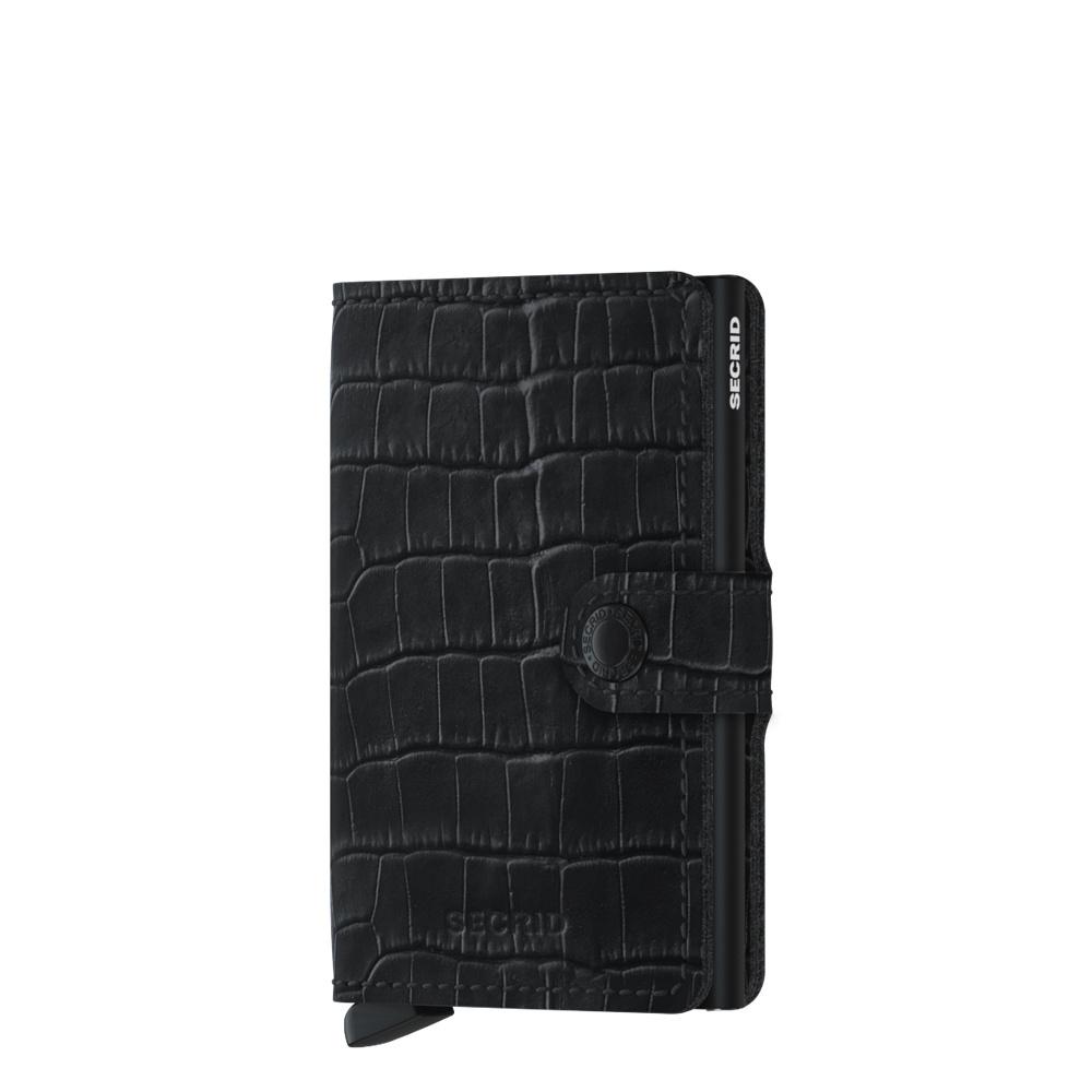 Secrid Secrid Mini Wallet Cleo Black leren uitschuifbare pasjeshouder krokodillenleer look