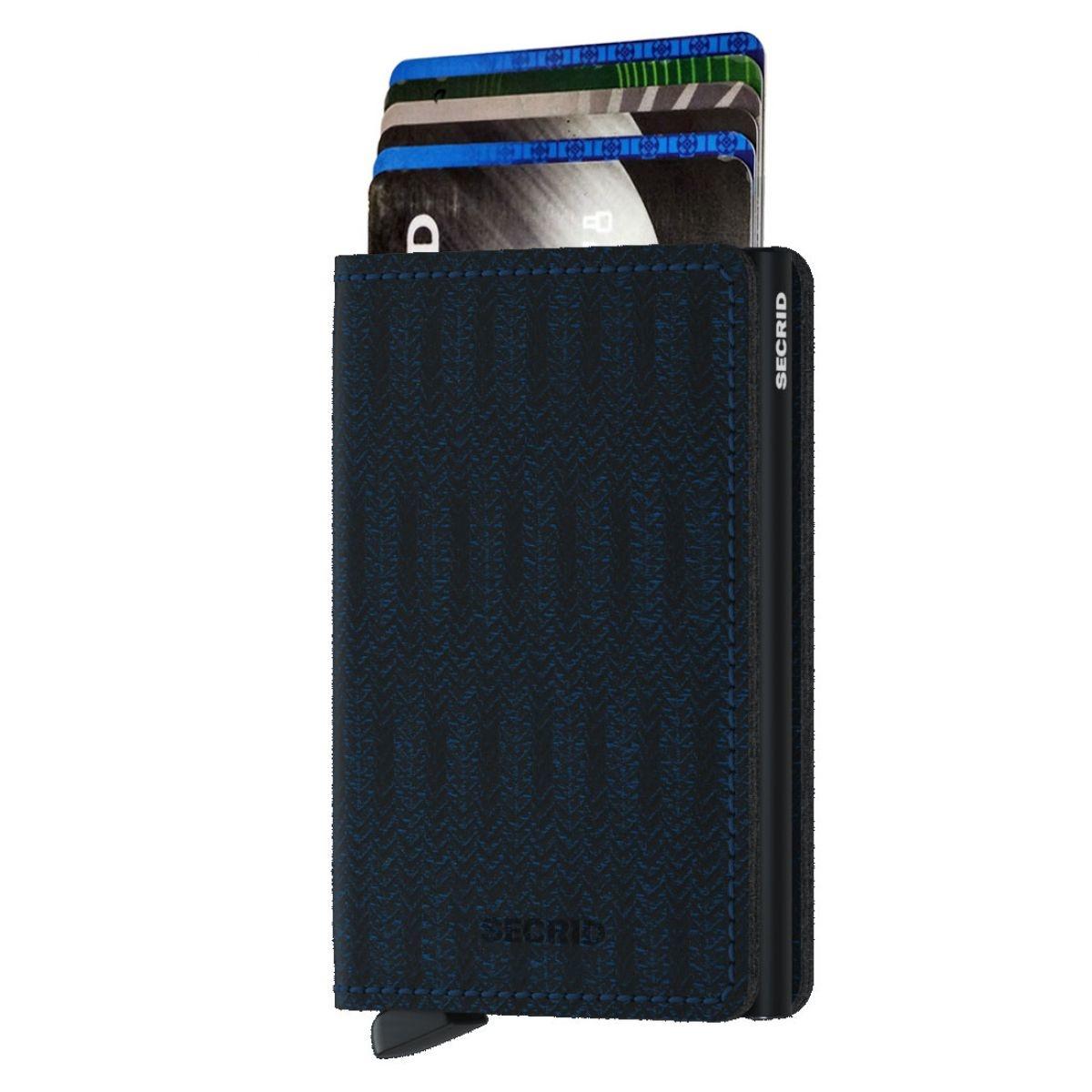 Secrid Secrid Slim  Wallet Card Protector Dash Navy leren uitschuifbare pasjeshouder