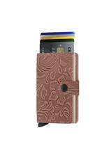 Secrid Secrid Mini Wallet Card Protector Ornament Rose leren uitschuifbare pasjeshouder