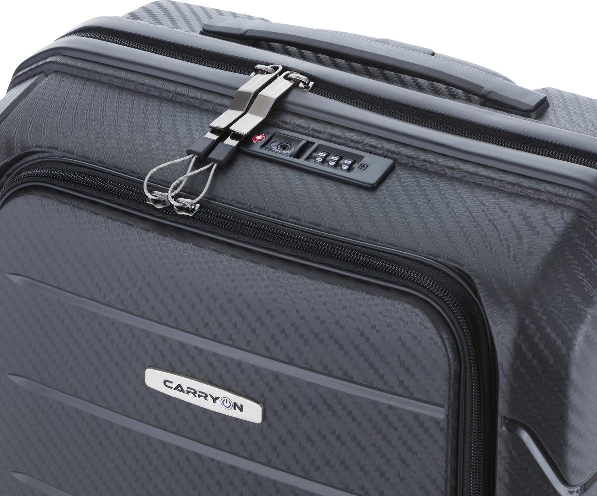 Carryon Worker - harde handbagagekoffer met voorvak - black