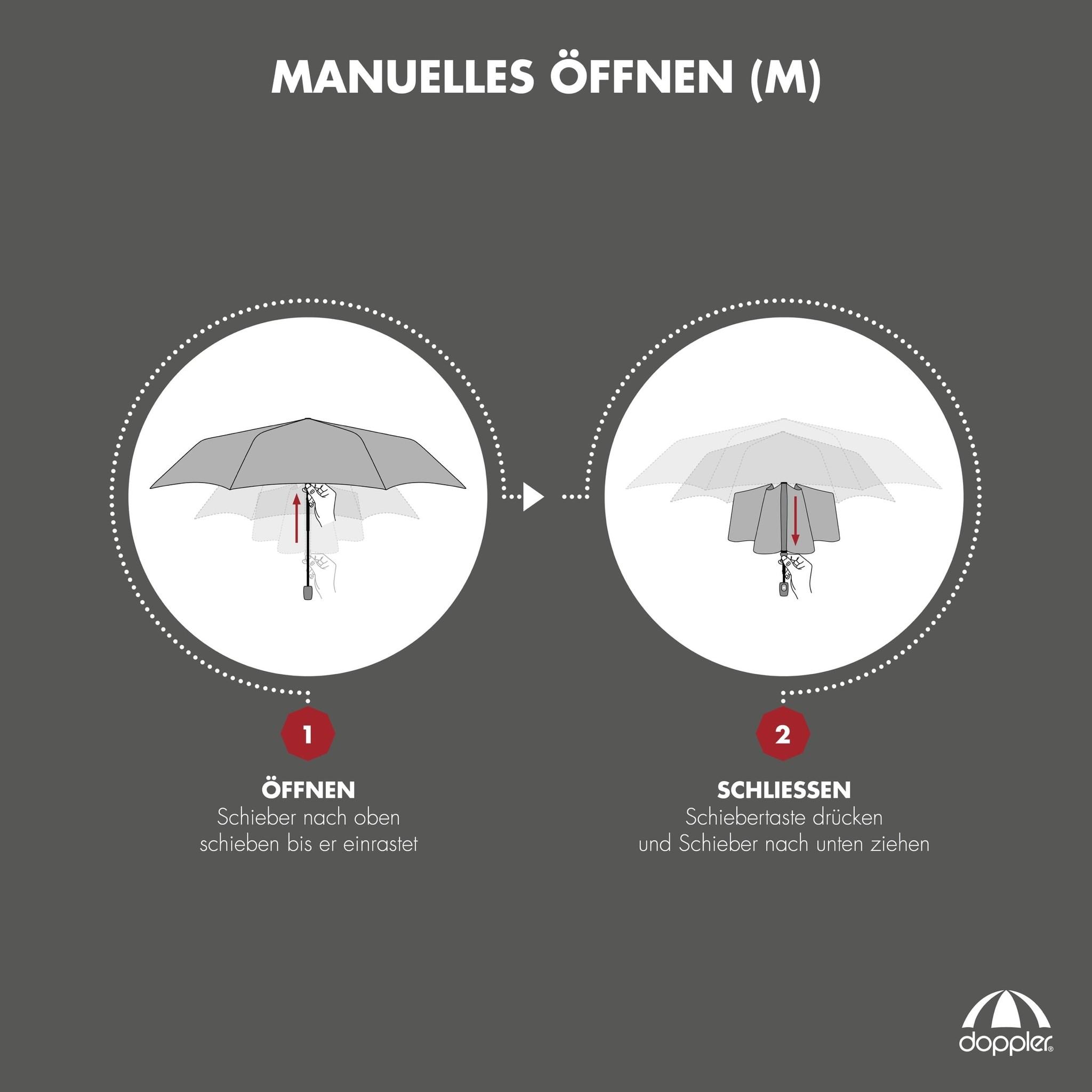 Doppler Doppler Carbonsteel mini slim - black - zeer lichte platte paraplu