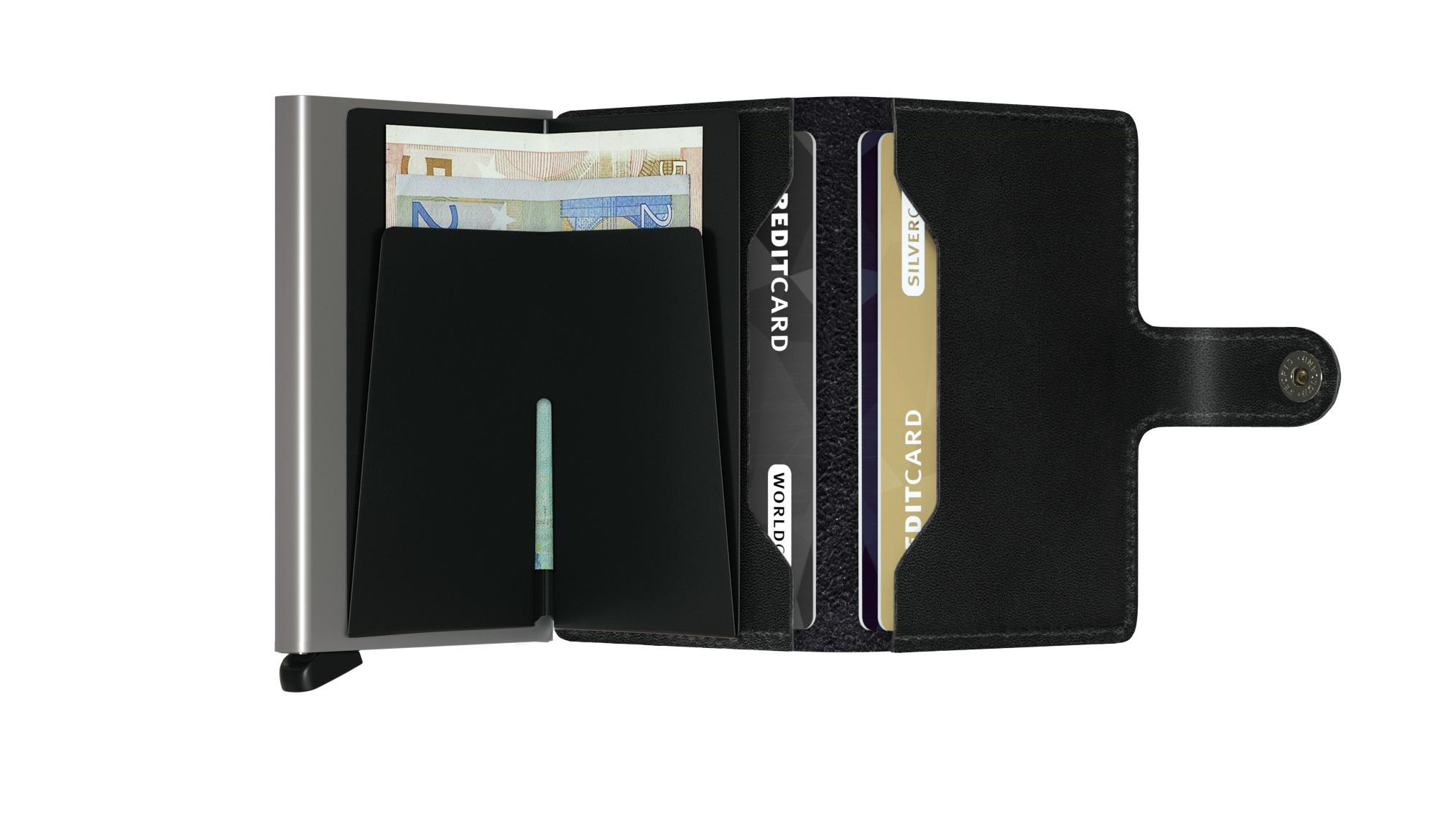 Secrid Secrid Mini Wallet Card Protector zwart leren uitschuifbare pasjeshouder