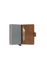 Secrid Secrid Mini Wallet pasjeshouder Vintage Cognac Silver leren uitschuifbare portemonnee