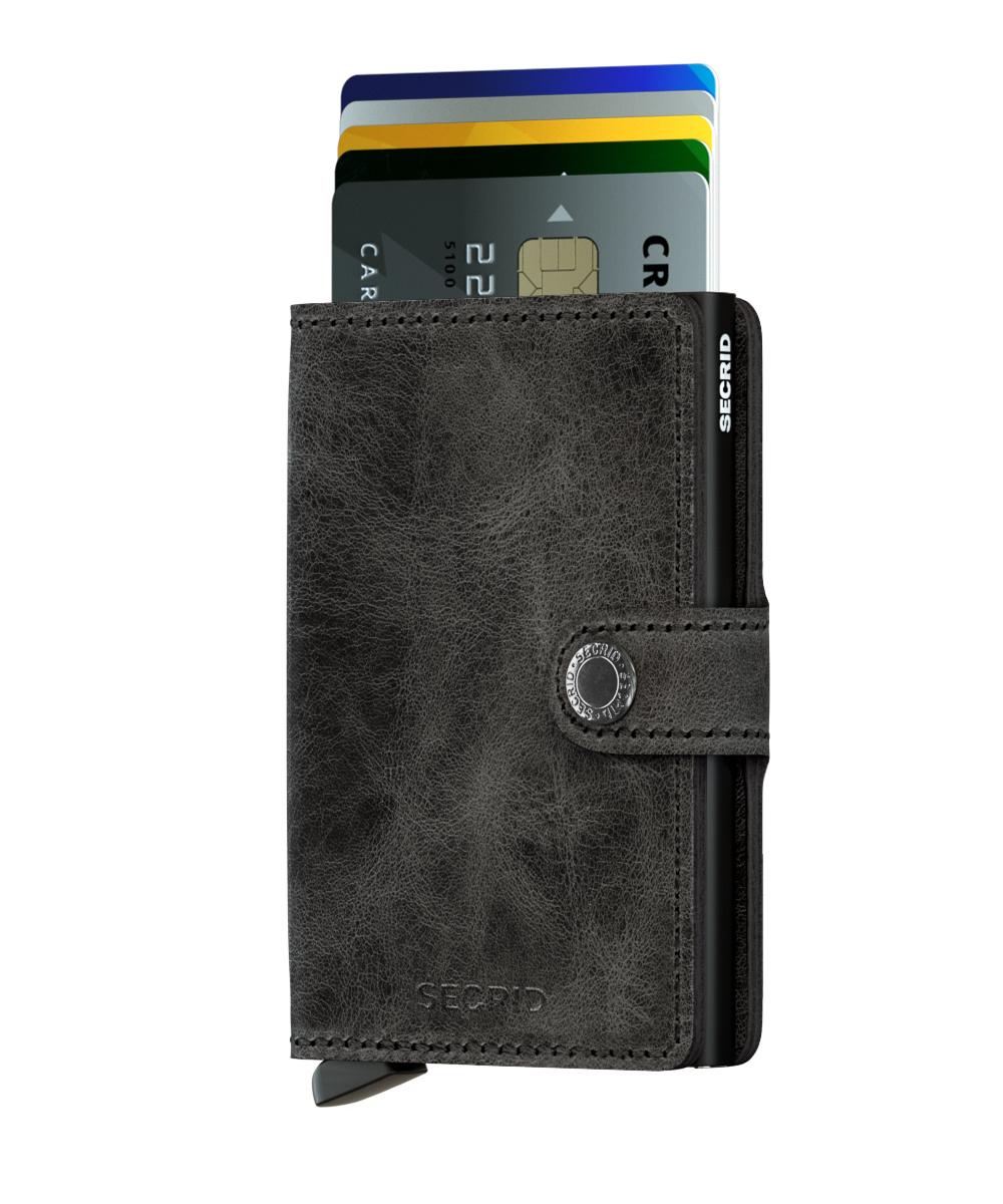 Secrid Secrid Mini Wallet Card Protector Vintage zwart leren uitschuifbare pasjeshouder