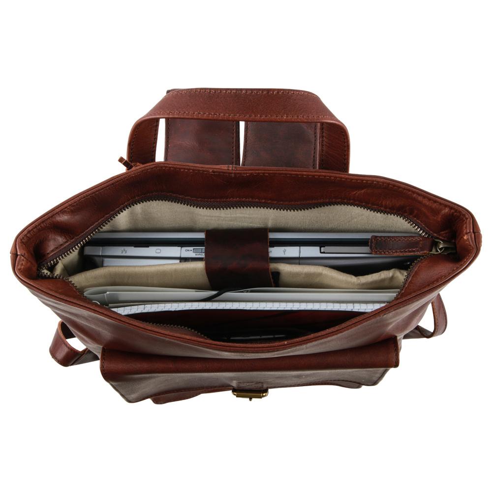 Saccoo Saccoo Springfield Talca BF Handgemaakte natuurlijk lederen laptoprugzak Brown