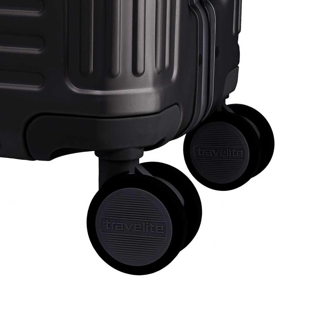 Travelite Next handbagagekoffer - Luxe Aluminium Trolley 55cm - zwart