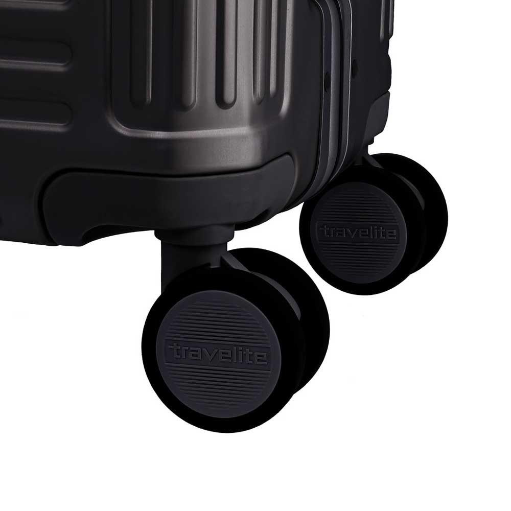 Travelite Next middenmaat koffer - Luxe Aluminium M Trolley 67cm - medium - zwart