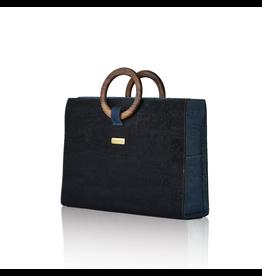 Bag Affair Bag Affair Bossy Businessbag - Gemaakt van kurk - Black / Marine