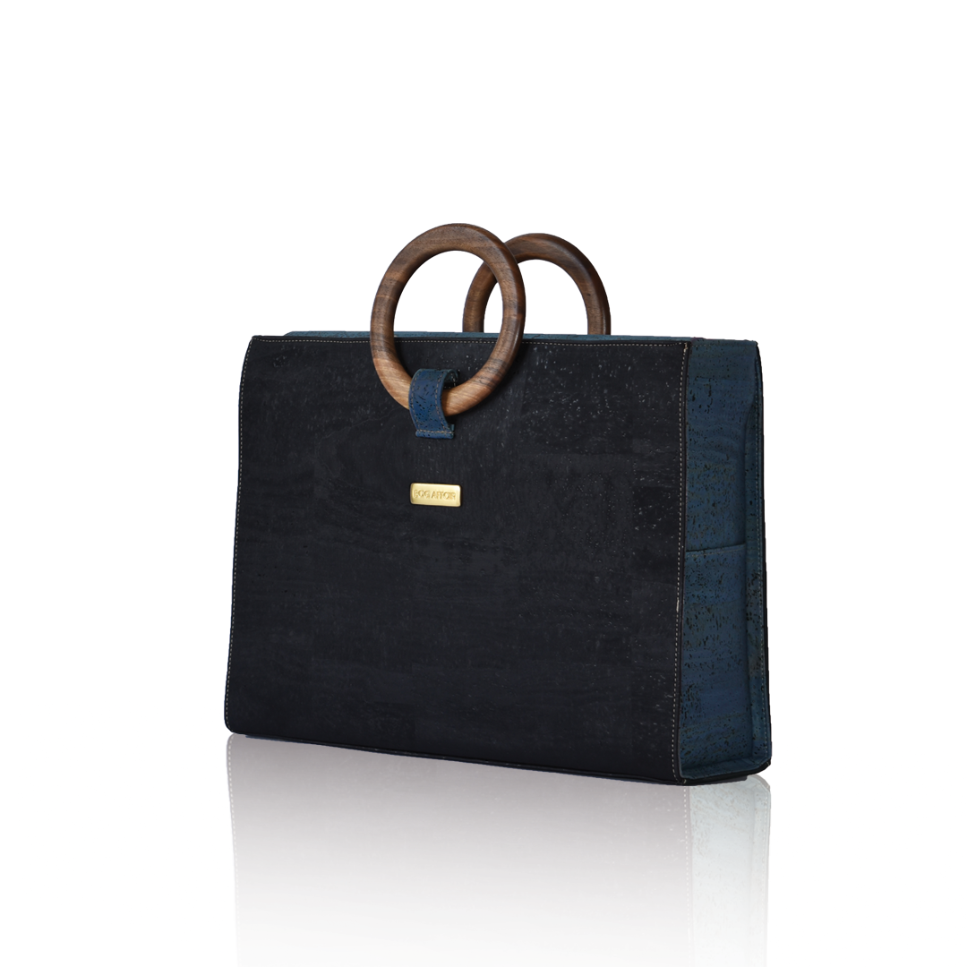 Bag Affair Bag Affair Bossy Businessbag - Gemaakt van kurk - Black / Marine