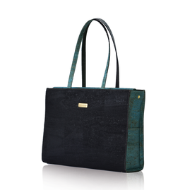Bag Affair Bag Affair Classy  Businessbag - Gemaakt van kurk - Black / Green
