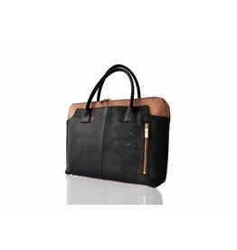 Bag Affair Bag Affair Sassy  15 inch Businessbag - Gemaakt van kurk - Black / Brown