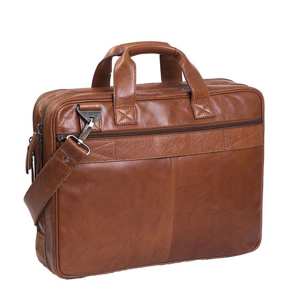 The Chesterfield Brand Chesterfield Manuel Leren 15.4 inch laptoptas Cognac