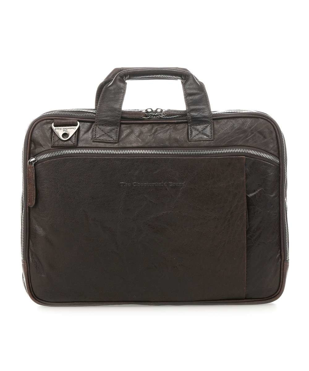 The Chesterfield Brand Chesterfield Manuel Leren 15.4 inch laptoptas Donker Bruin