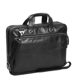 The Chesterfield Brand Chesterfield Manuel Leren 15.4 inch laptoptas Zwart
