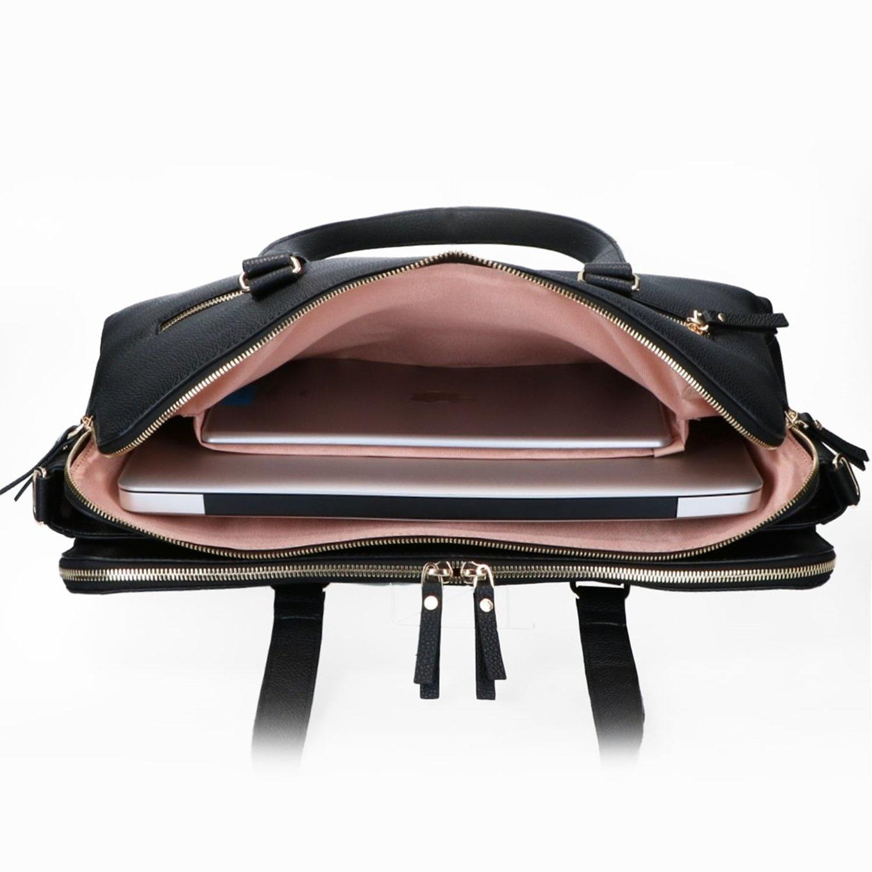 FMME. FMME. Laptop schoudertas Charlotte, 15 inch - Zwart Nature Leer