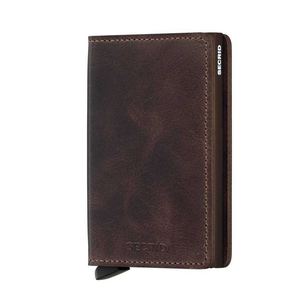 Secrid Secrid Slim Wallet Vintage Chocolate leren uitschuifbare pasjeshouder portemonnee