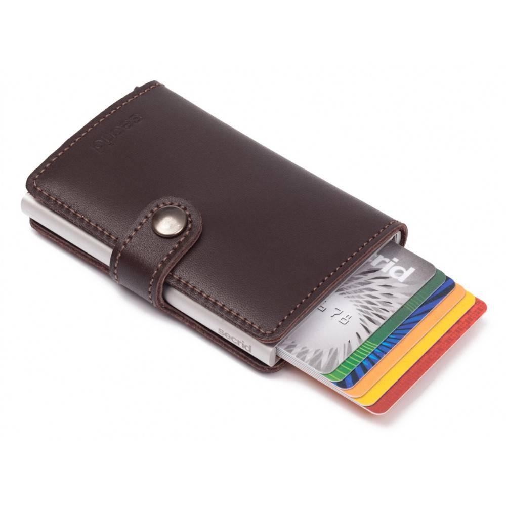 Secrid Secrid Mini Wallet Card Protector Dark Brown leren uitschuifbare pasjes bescherming portemonnee