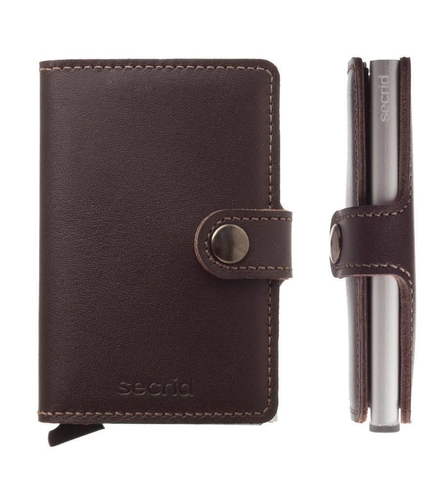 4df29ae6446 Secrid Mini Wallet Card Protector Dark Brown leren uitschuifbare pasjes  bescherming portemonnee
