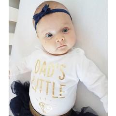 Your Little Miss Newborn baby haarbandje met kanten strik - Dark blue