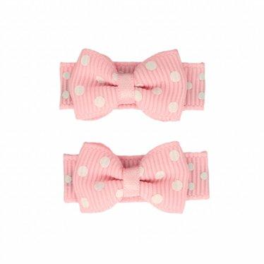 Your Little Miss Roze baby haarspeldjes met strik en stipjes