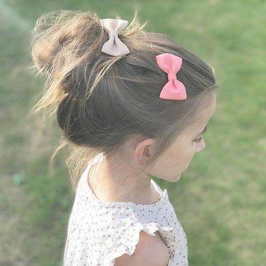 Your Little Miss Haarspeldje met strik peach