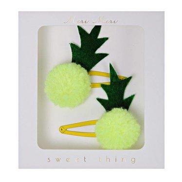 Meri Meri Set van twee ananas pompom haarclips