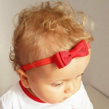 Your Little Miss Rood baby haarbandje met dubbele strik en dun bandje