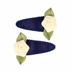 Your Little Miss Donkerblauwe satijnen baby haarspeldjes met roosje