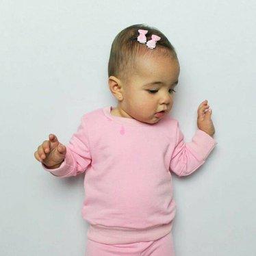 Your Little Miss Roze en witte baby haarspeldjes met satijnen strik