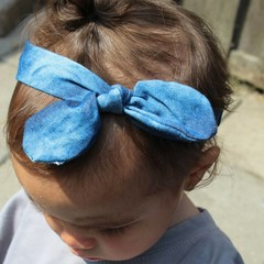 Your Little Miss Baby haarbandje met knoop denim