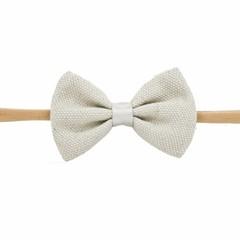 Your Little Miss Meisjes haarband met grijze linnen strik
