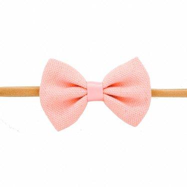 Your Little Miss Meisjes haarband met linnen strik van 8 cm