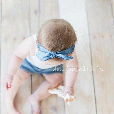 Your Little Miss Denim baby haarbandje met knoop