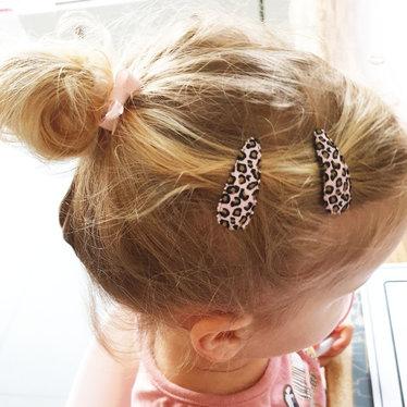 Your Little Miss Leopard print baby haarspeldjes pink