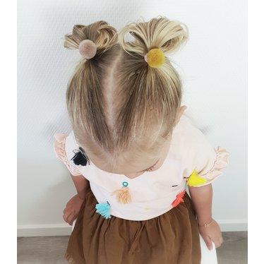 Your Little Miss Setje van 3 kleine elastiekjes met pompom forest