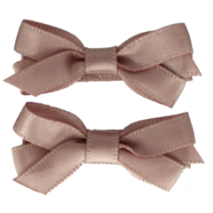 Your Little Miss Haarspeldjes met satijnen strik mauve beige