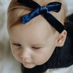 Your Little Miss Meisjes haarband met donkerblauwe velvet strik