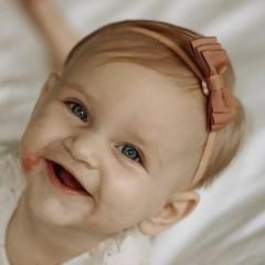 Your Little Miss Baby haarbandje met dubbele strik pecan
