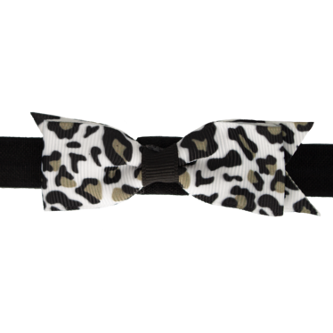 Your Little Miss Baby haarbandje met strik zwart leopard